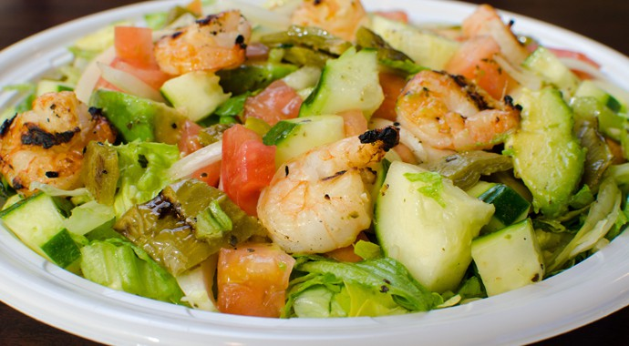 Fresh Mexican Food - Nopales Salad with Grilled Shrimp