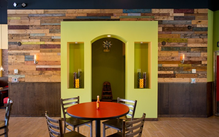 Coral Springs - Restaurant Interior, Wood Wall
